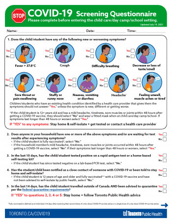screenshot of screening questionnaire for child care, day camps and schools