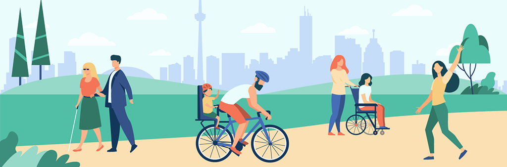 Graphic drawing of a park pathway in Toronto, showing various park users cycling, using mobility devices, and walking through the park
