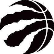 Black Raptors Basketball on White Background