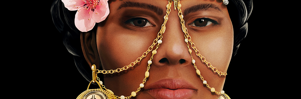 Woman's face with gold chains running from centre of forehead, across both cheeks and behind ears, with a flower at temple