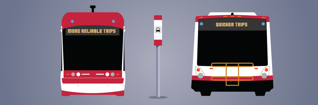 graphic of a TTC bus and streetcar next to a stop pole on a purple background.