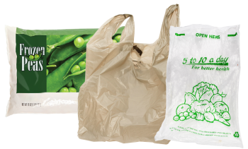 a bag of frozen peas and stretchy plastic shopping bags