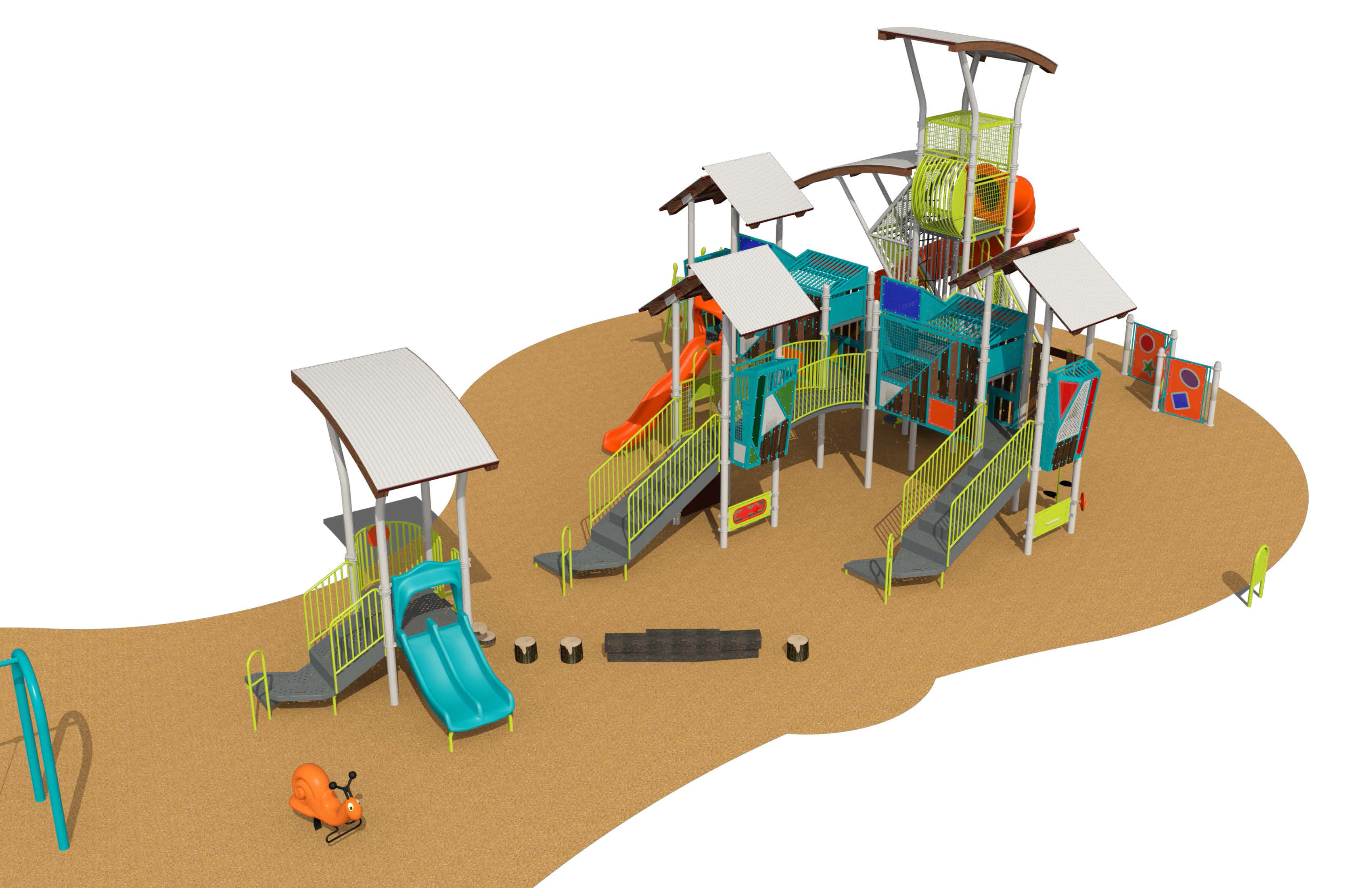 A rendering of the playground equipment and design, described with text following the image.