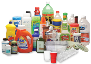 Rigid plastic containers including containers for laundry detergent, juice, and dish soap