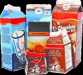 various milk and juice cartons