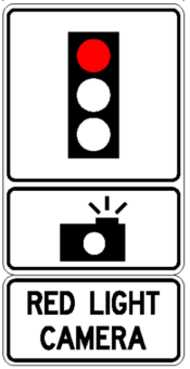 Image of a red light camera street sign