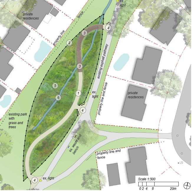 As part of the concept plan, an aerial map identifies the location of new features that will be included in the pollinator habitat in Guildwood Village Park. The black border shows the wood post and paddle fencing which is shaped like a canoe.