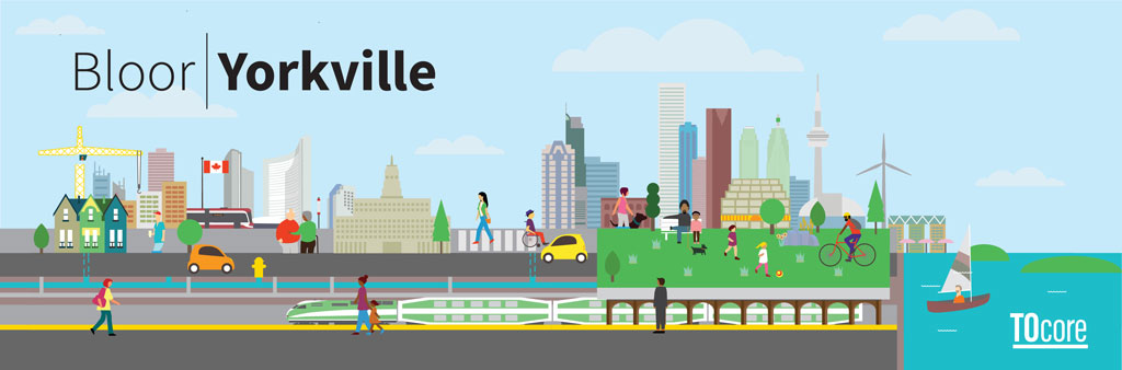 An illustrated, decorative Toronto skyline graphic with vehicles, pedestrians, green space and the lake. The Bloor-Yorkville Secondary Plan study is a part of the broader TOcore planning study.