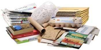 paper items including newspaper, books, and shredded paper