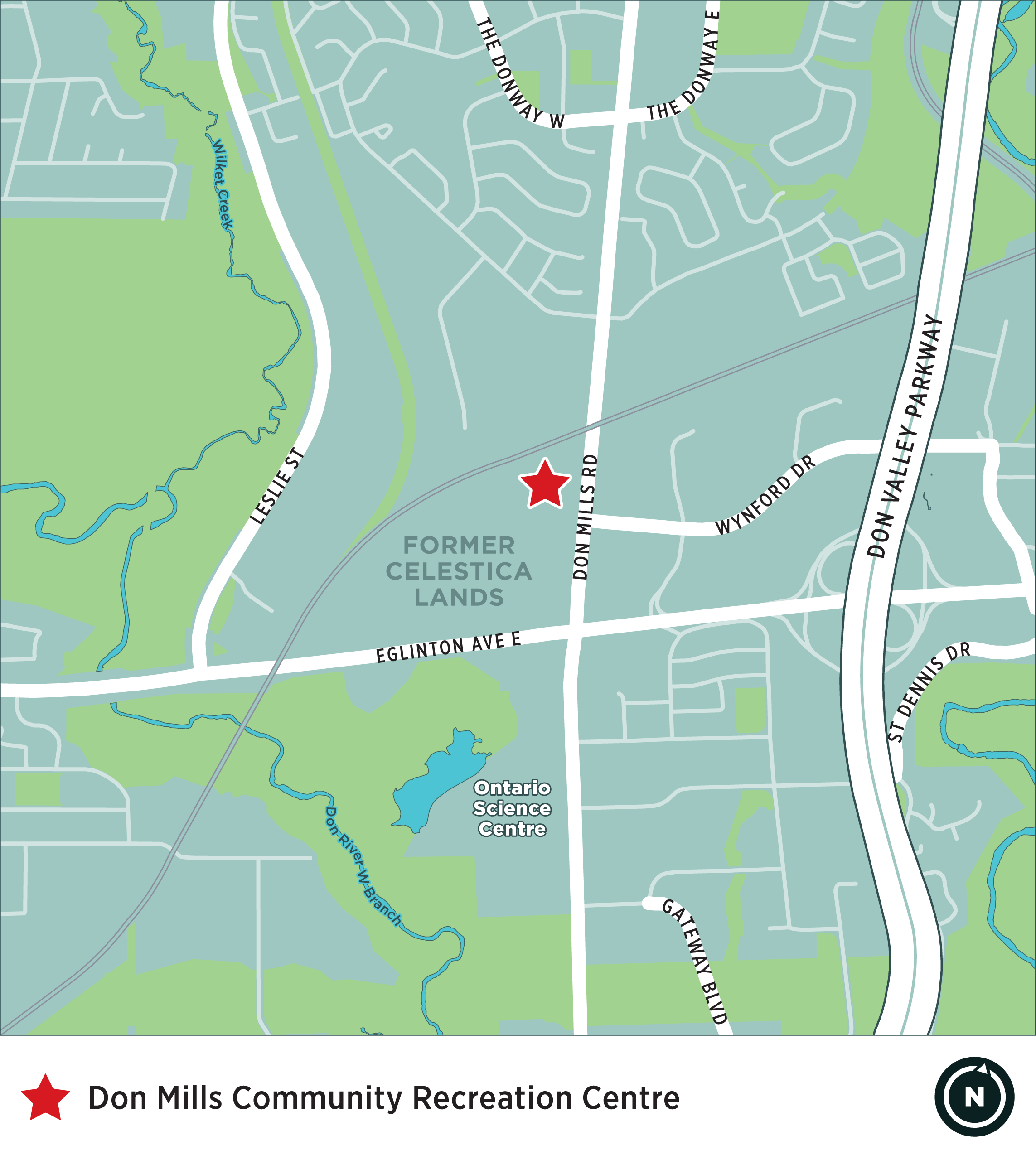 This image shows a map of the area surrounding the intersection of Eglinton Avenue East and Don Mills Road. A red star indicates the location of the future Don Mills CRC, just north of Wynford Drive on the west side of Don Mills Road.