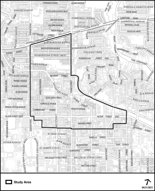 A map of the Bloor-Yorkville Secondary Plan study area bounded by North: The Canadian Pacific Railway corridor East: Yonge Street, Rosedale Valley Road and Sherbourne Street South: Charles Street West: Avenue Road