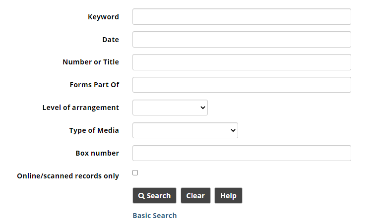 Advanced search screen with all fields blank.