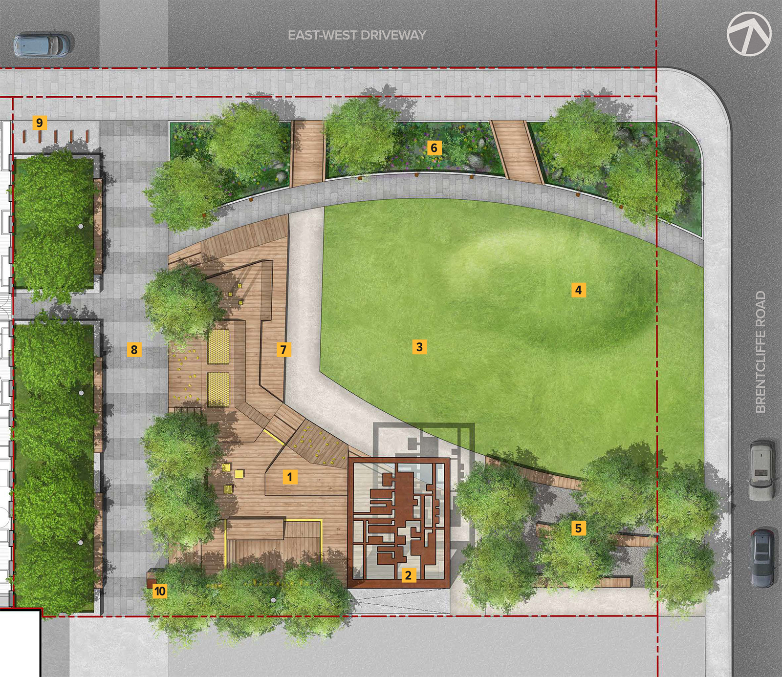 A aerial rendering of the proposed site plan for the new park at 939 Eglinton Avenue with features and amenities identified with numbered labels throughout the park. The park will be square in shape and located at the corner of Brentcliffe Road and an east-west driveway.
