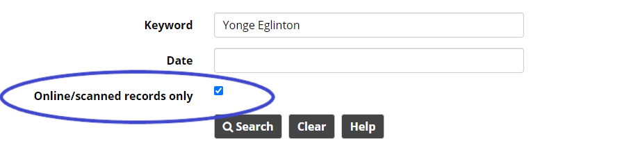 """Basic search screen with the """"Online/scanned records only"""" checkbox highlighted."""
