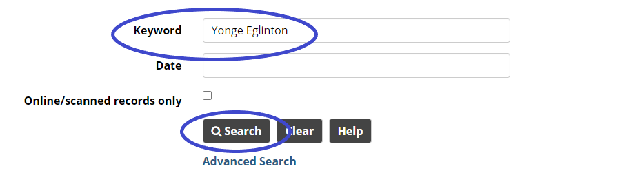 """Search screen with the words """"Yonge Eglinton"""" highlighted in the Keyword field, and the Search button highlighted."""