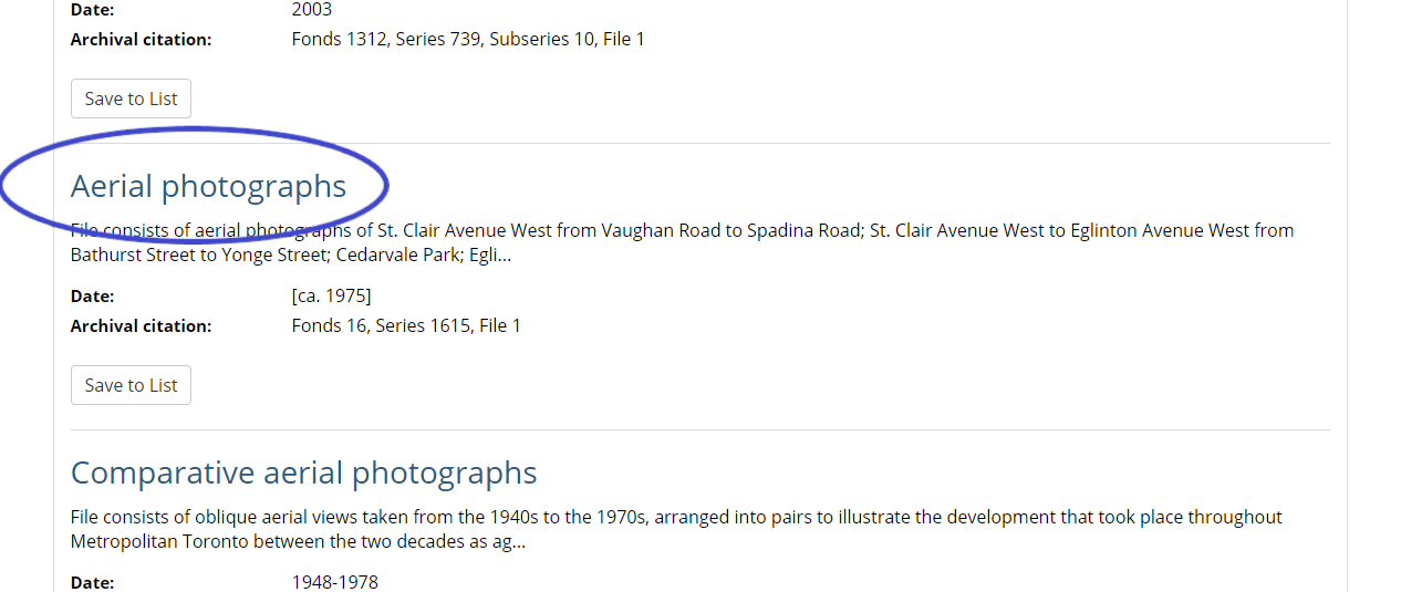 """Search results screen with the title """"Aerial photographs"""" highlighted."""