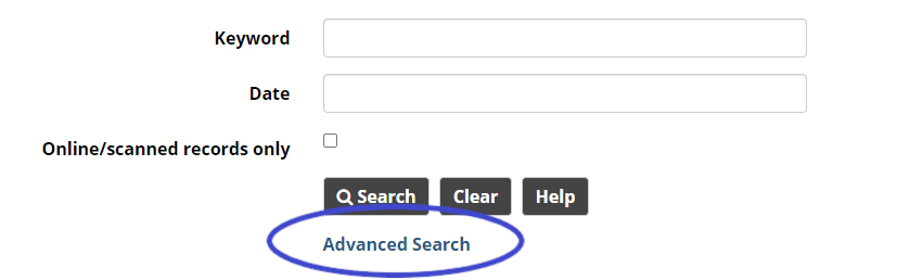 Search screen with the link to Advanced Search highighted.