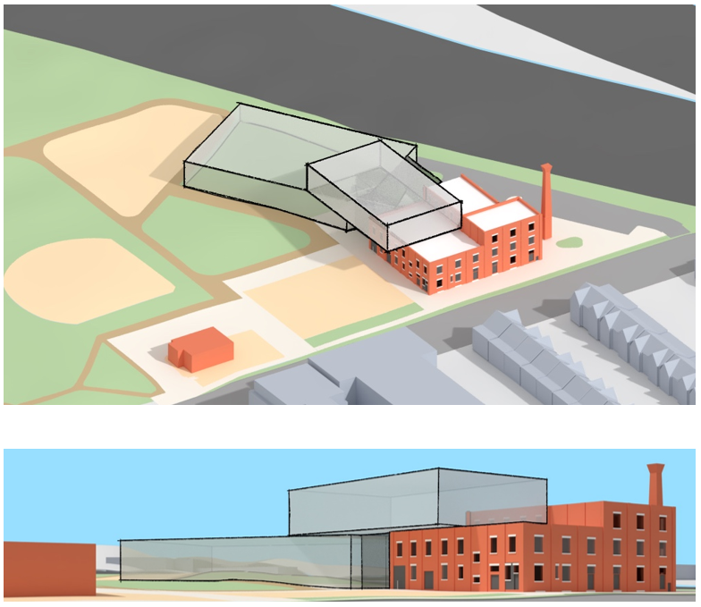 The Angler design option Building Massing and Placement. Top image shows massing view from southwest looking northeast. Bottom image shows massing from Wabash Ave looking northwest. The building is about 4 stories with the new segments located on top and north of the existing factory.