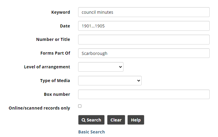 Advanced Search screen with Keyword, Date, and Forms Part Of fields filled in.