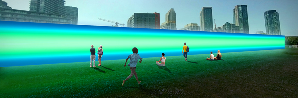 Multiple people with blue and green lights
