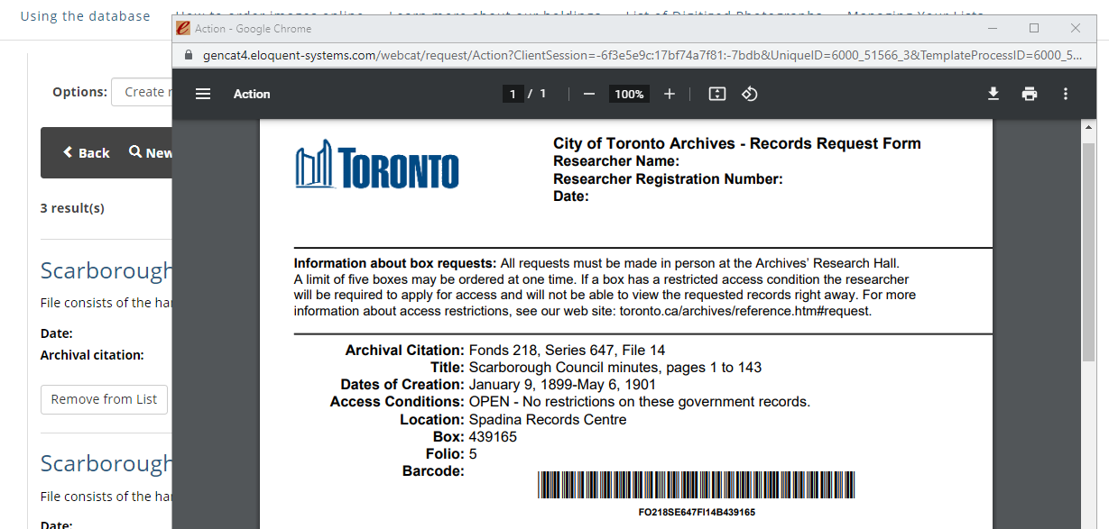 PDF of Records Request Form showing archival citations and barcode.