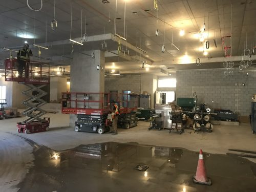 Showing work continuing in the North St. Lawrence Market parking garage