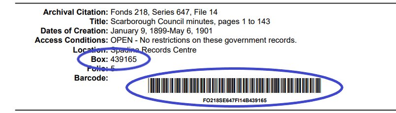 Records Request Form pdf with box number and barcode highlighted.