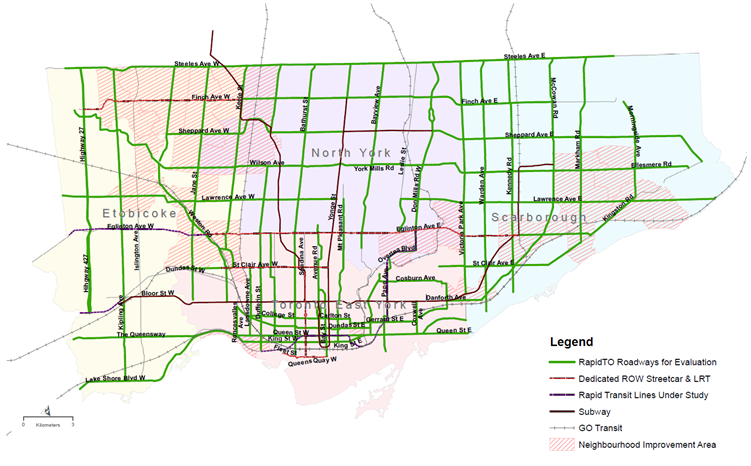 Map of Toronto showing bus and streetcar roadways to be evaluated and prioritized for study and implementation in green