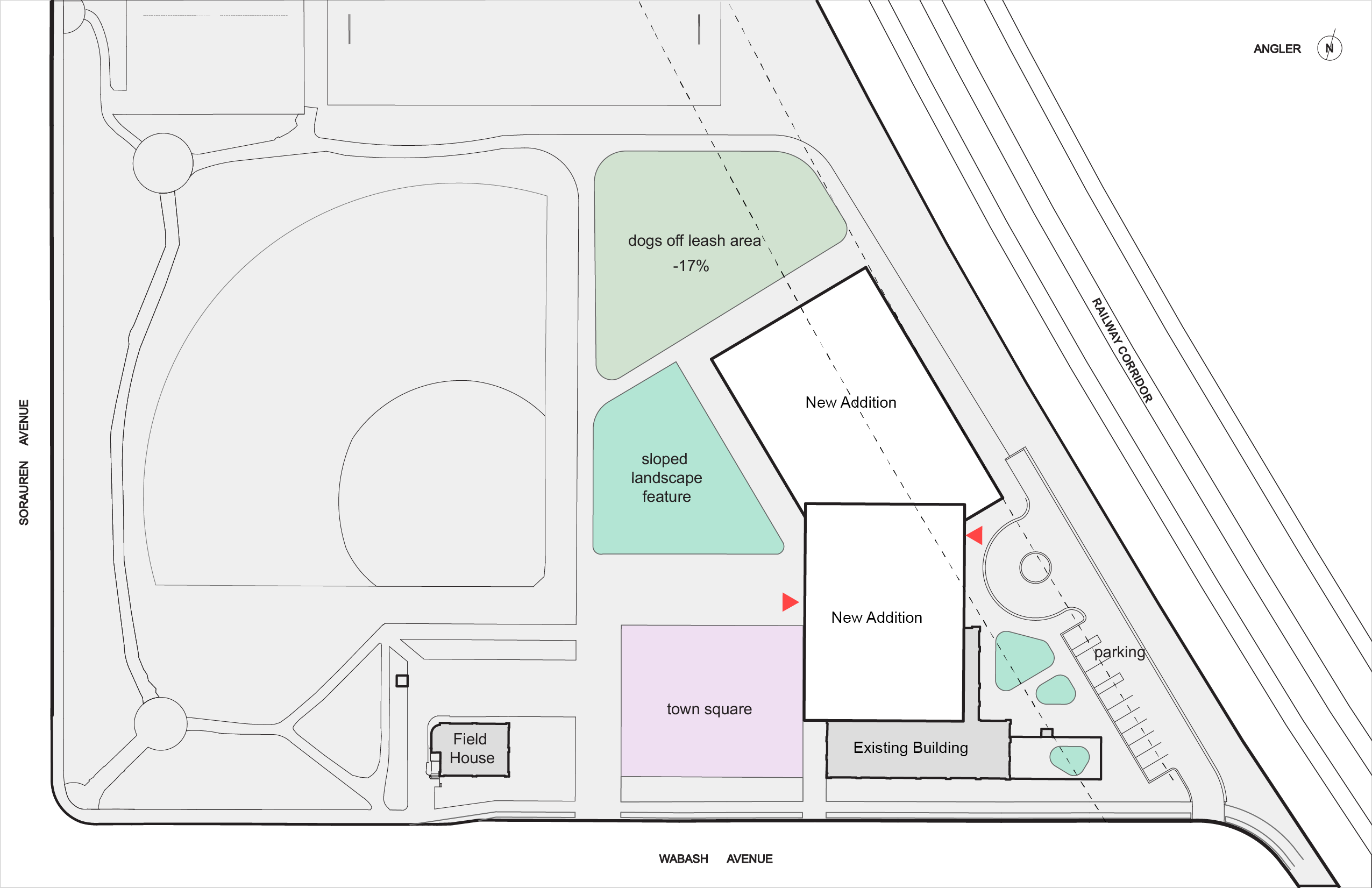 Aerial layout of the Angler Site Design option. The new addition is north and above the existing factory building.