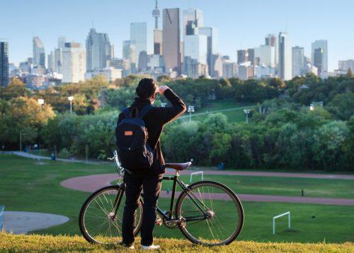 Toronto city skyline view from Danforth & Broadview