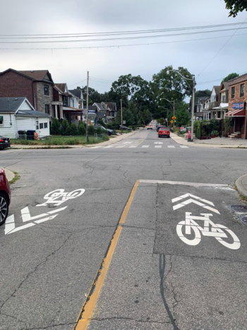 New sharrows in both directions on Monarch Park Avenue north of Walpole Avenue