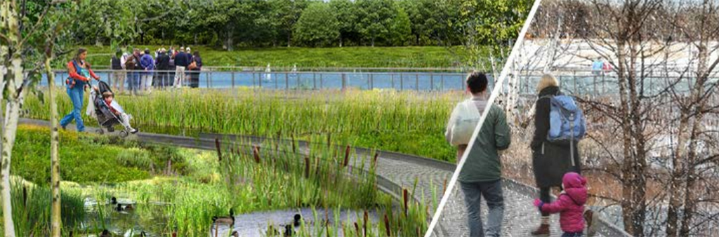 An artist renderings of the linear wetland towards the recreational pond in Humber Bay Park which shows seasonal recreation use. The image shows people walking along a raised boardwalk over a pond surrounded my trees, greenery and the wetlands.