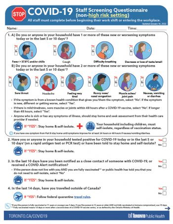 screenshot of staff screening questionnaire