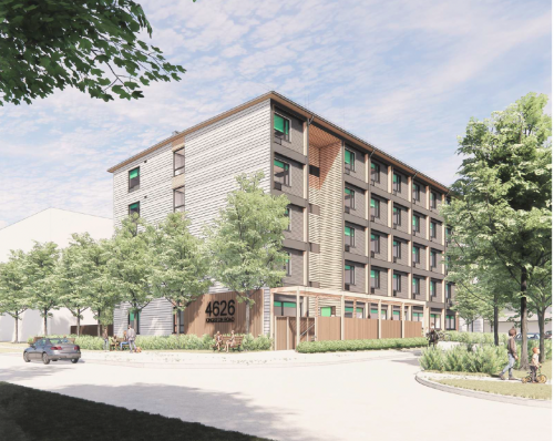 Preliminary artist's rendering of the modular building, looking west on Orchard Park Dr. Final design subject to approval.