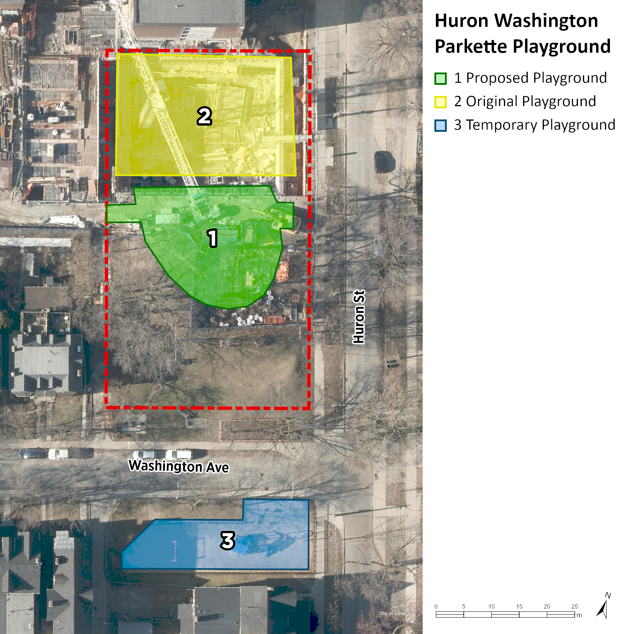 An aerial image of Huron-Washington Parkette Playground. The original playground location is shown in yellow at the north side of the site. The new playground location is shown in green just south of the original location. The temporary location is shown in blue on the other side of Washington Avenue, to the south.