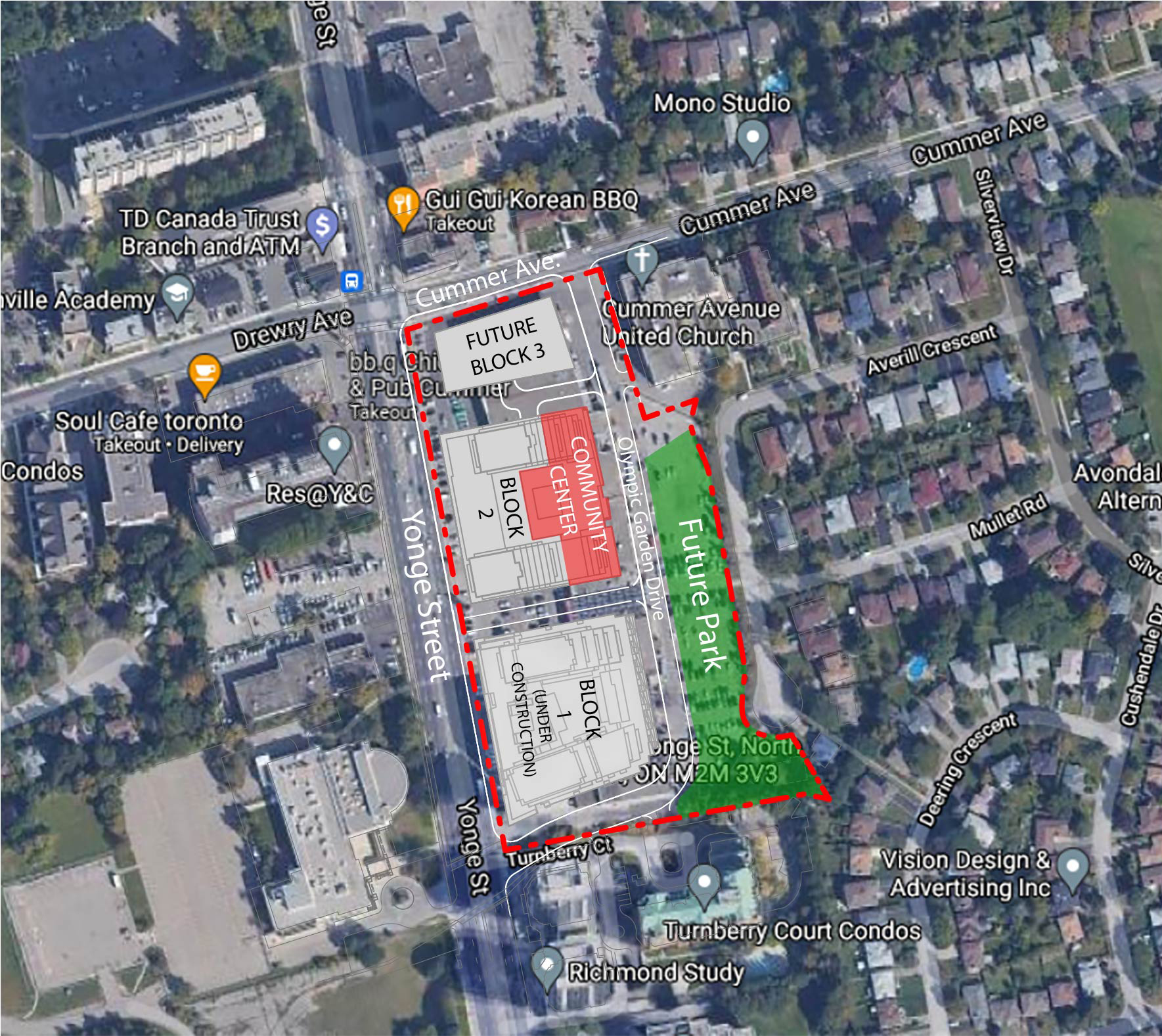 An aerial location map showing the location for the new the new park, shown in green. The new park will be located east of Yonge Street and south of Cummer Avenue on a new street named Olympic Garden Drive. The development site is outlined in red and includes a community centre, shown in red.