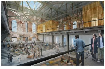 artist rendering of the interior of the Wellington Destructor site, a 0.85 hectare City-owned property that includes a 3,700 square metre heritage building showing an open concept meeting space