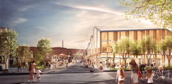 artist rendering of the exterior of the Wellington Destructor site, a 0.85 hectare City-owned property that includes a 3,700 square metre heritage building