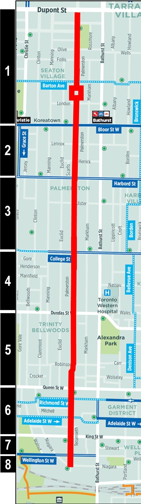 Map of project corridor for the Palmerston-Tecumseth Cycling Connections Project