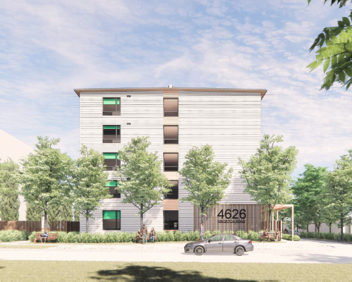 Preliminary artist's rendering of the modular building, from Orchard Park Dr. Final design subject to approval.
