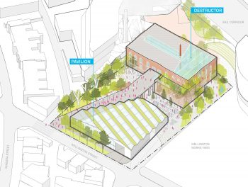 rendering of the a plan view of the Wellington Destructor site, a 0.85 hectare City-owned property that includes a 3,700 square metre heritage building showing the layout of the building on the property
